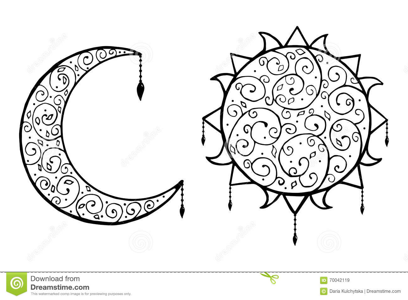 Decorative doodle sun and moon with isolated vector illustration on