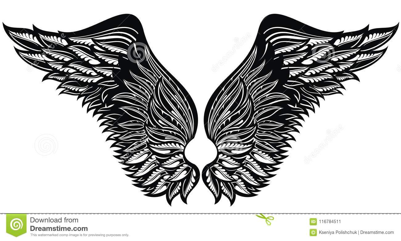 Tattoo Wingseagle Bird Or Angel Wings Stock Vector Illustration