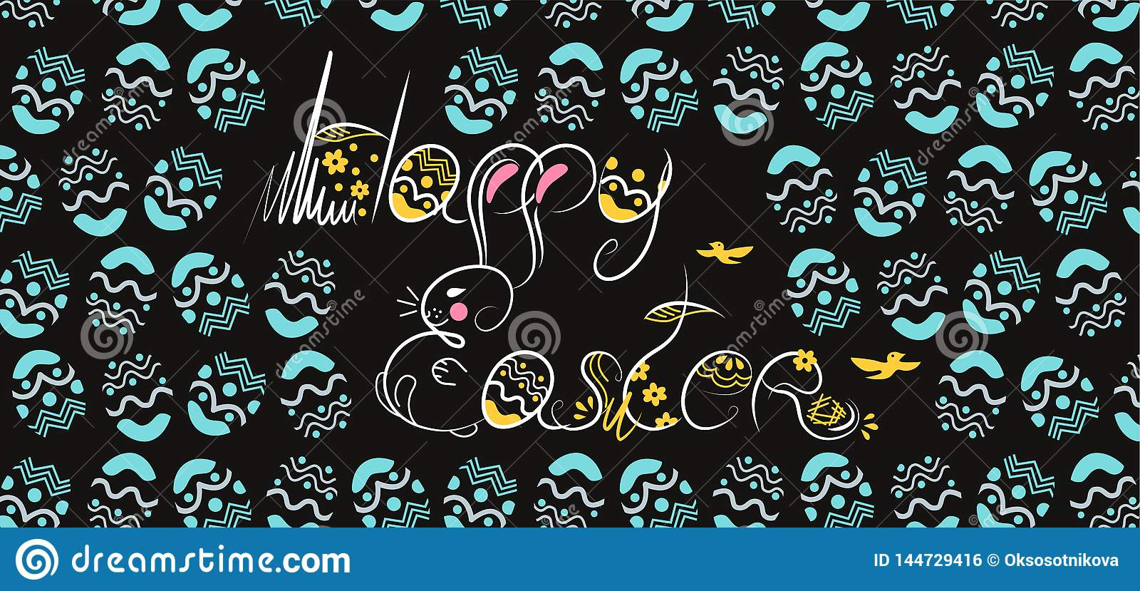 Decorative Easter composition hand drawn white font on black background. Funny doodle from bunny, eggs with flowers, leaves.