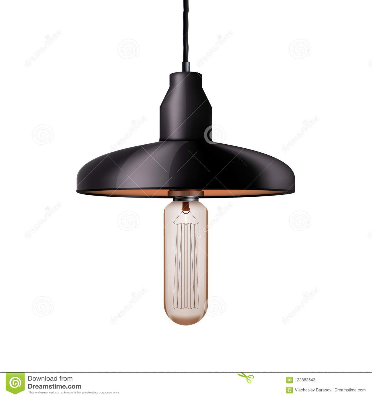 Decorative Edison Light Bulb With Chandelier Stock Vector