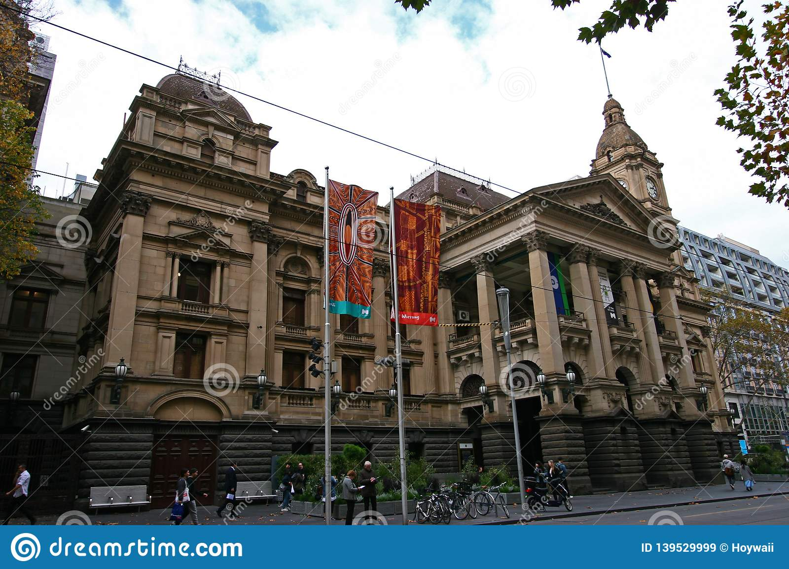 Classic And Historic Stone Exterior Of Melbourne City Hall With