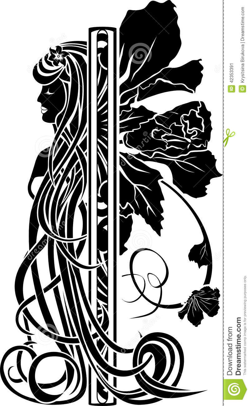 decorative element in the art nouveau style stock vector