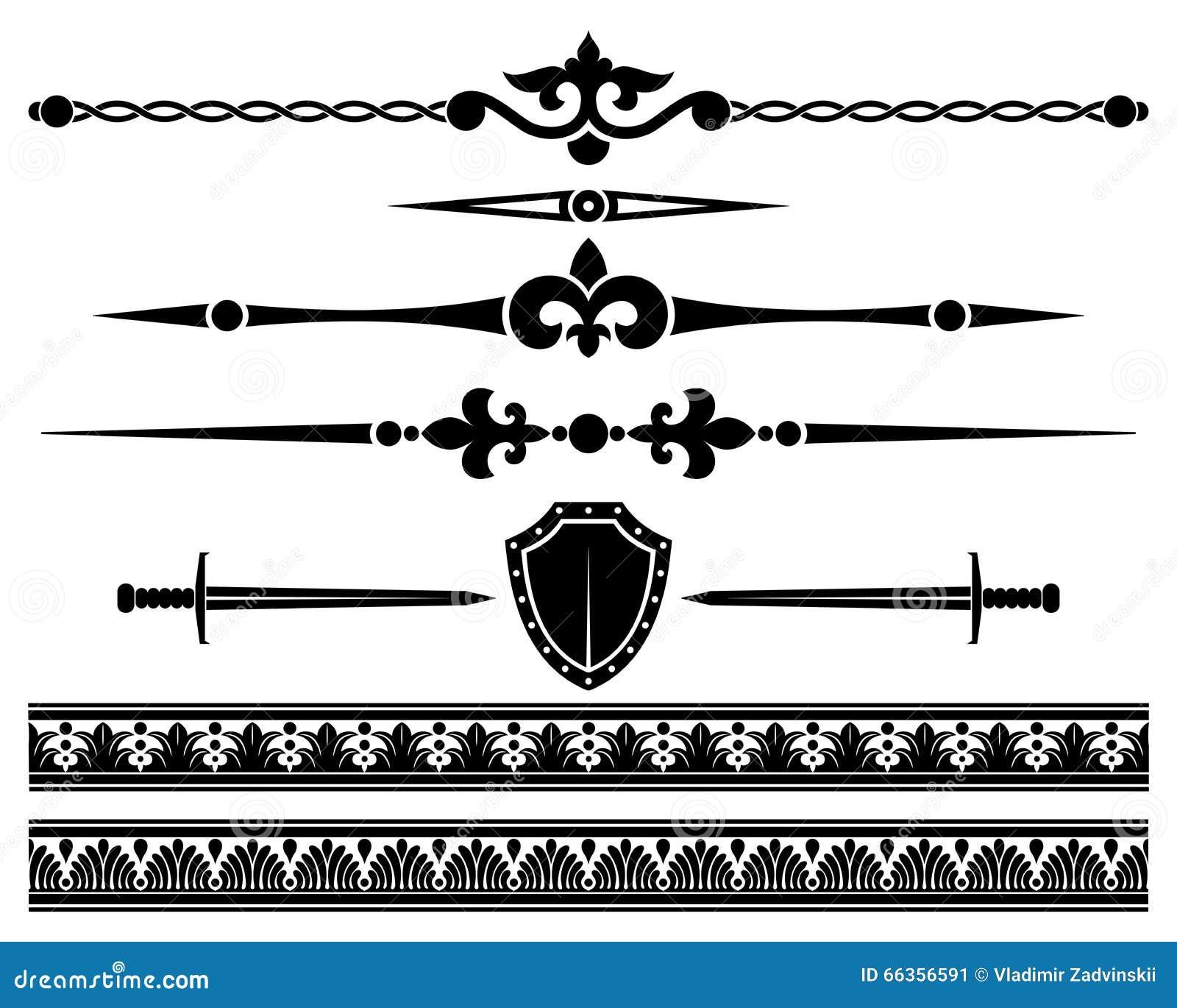 Graphic Design Elements Line : Decorative elements stock vector illustration of sword