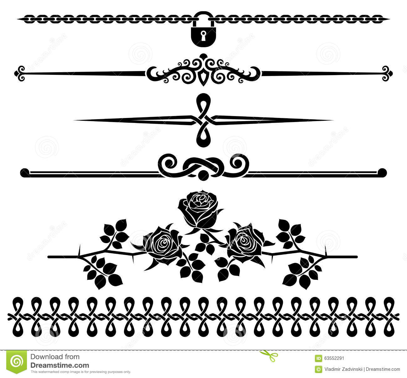decorative elements roses stock vector image 63552291