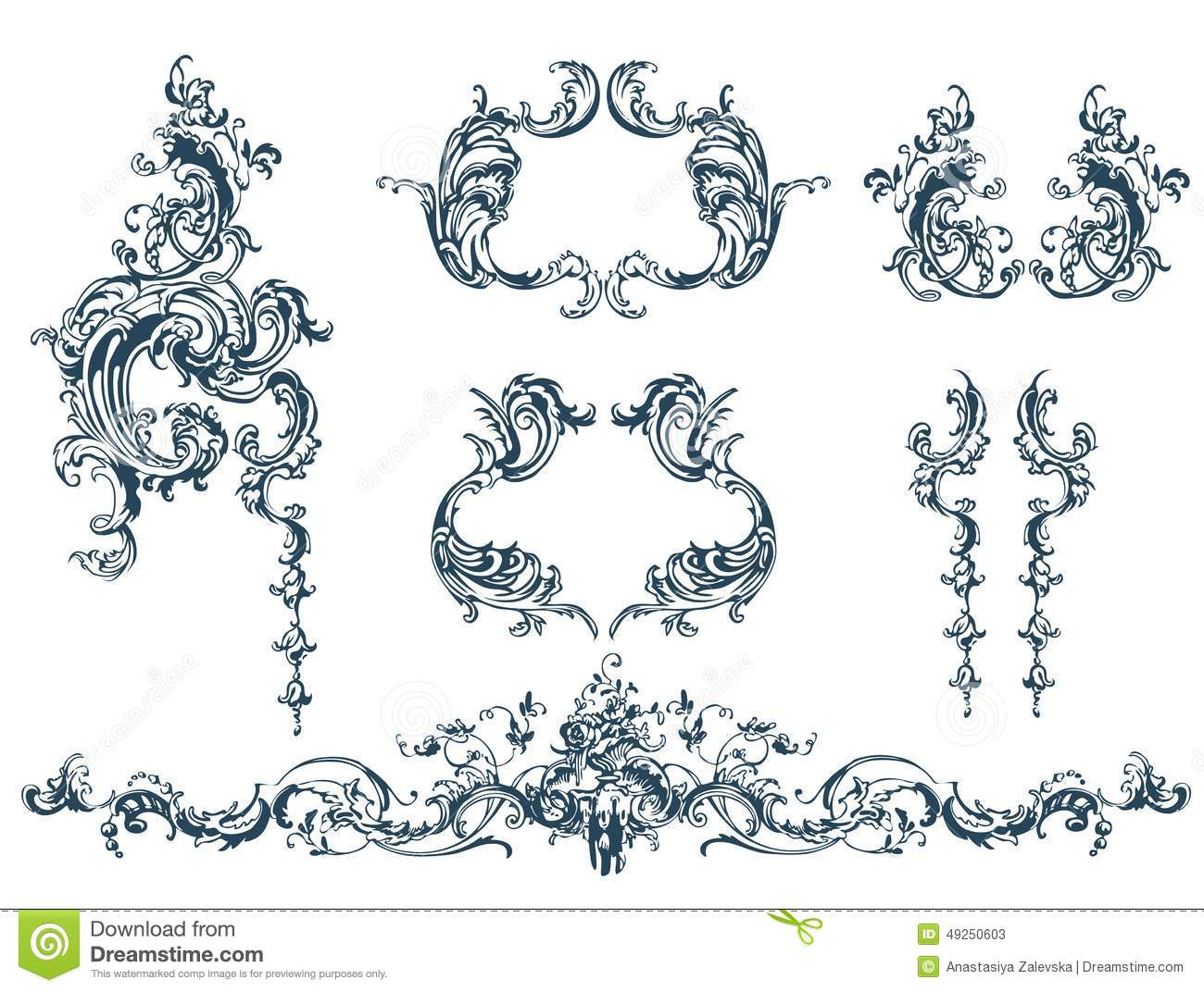 Decorative elements stock vector image of header copy for Rococo decorative style