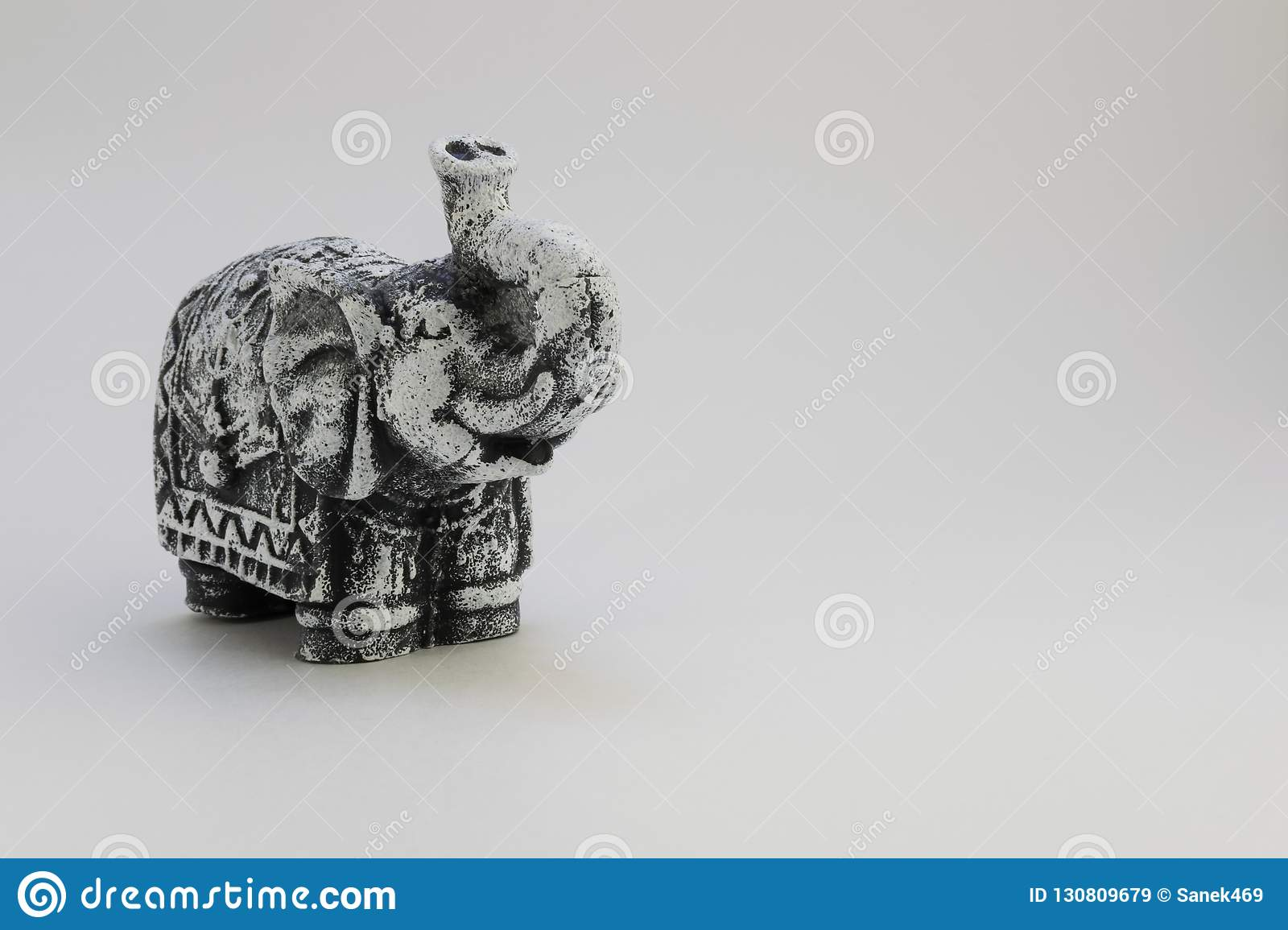 Decorative elephant in black and white
