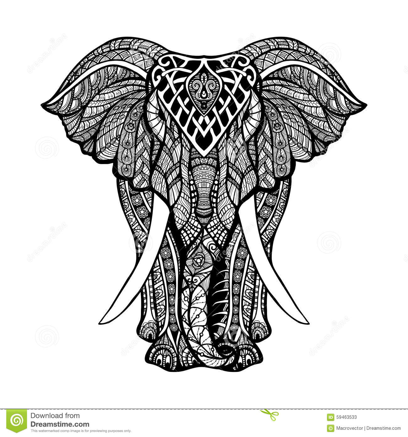 Decorative Elephant Front View With Stylized Ornament Hand Drawn