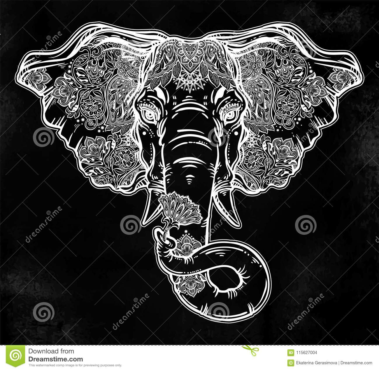 Decorative Elephant Portrait With Beautiful With Lotus Flower Stock