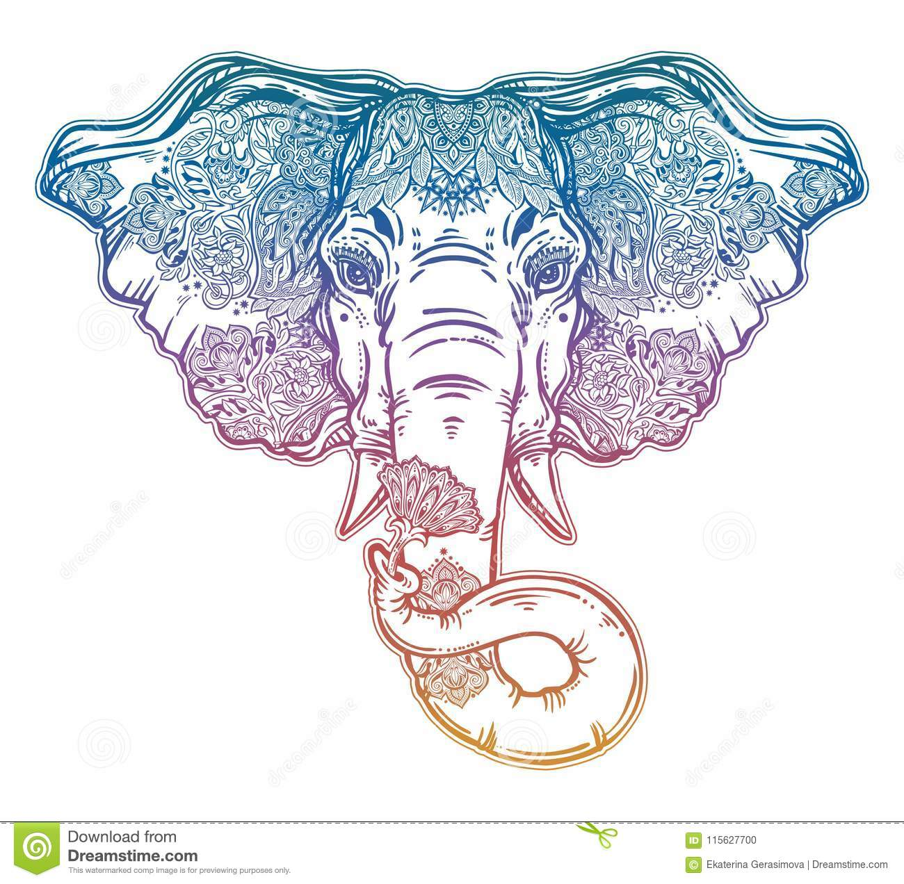 Decorative elephant portrait with beautiful with lotus flower stock ornate inked decorative elephant portrait with beautiful lotus flower lord ganesha african indian arab tribal spiritual animal izmirmasajfo