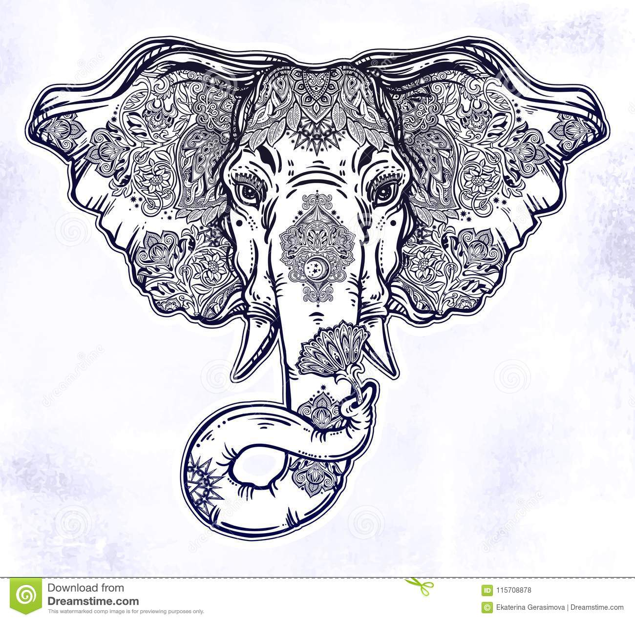 Decorative elephant portrait with beautiful with lotus flower stock download decorative elephant portrait with beautiful with lotus flower stock vector illustration of flower izmirmasajfo
