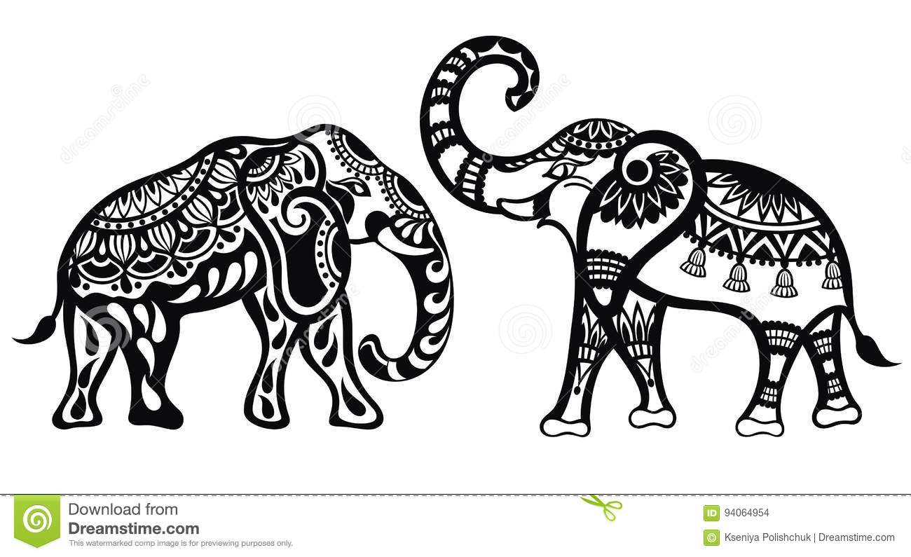 Decorative Elephants stock vector. Illustration of page ...