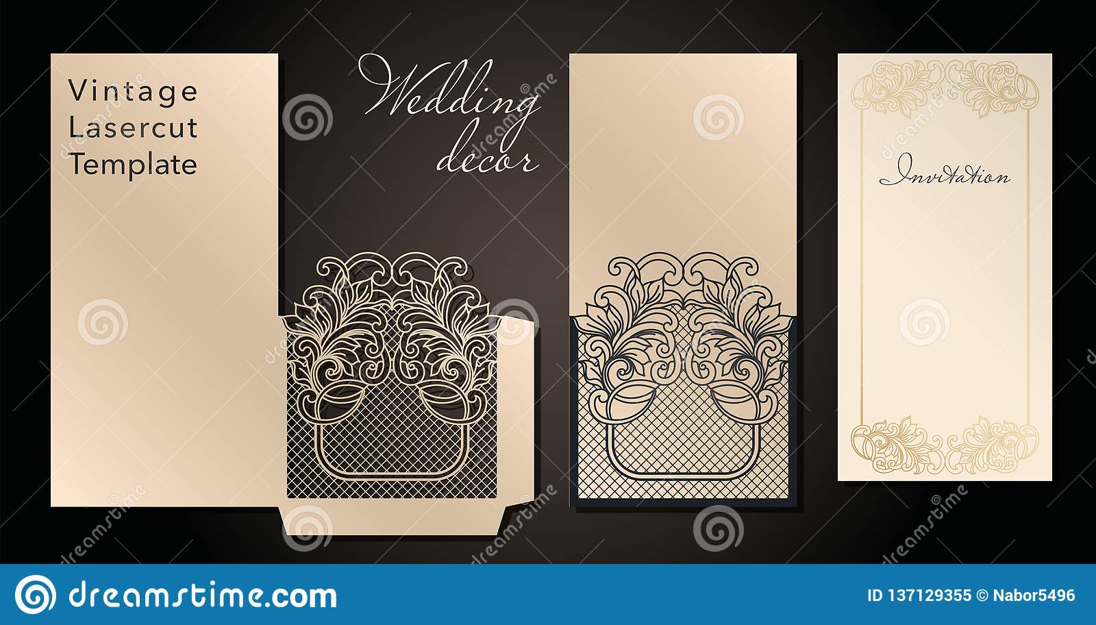 Decorative envelope and greeting card template for laser cutting. Cover design, invitations, save date in art Nouveau