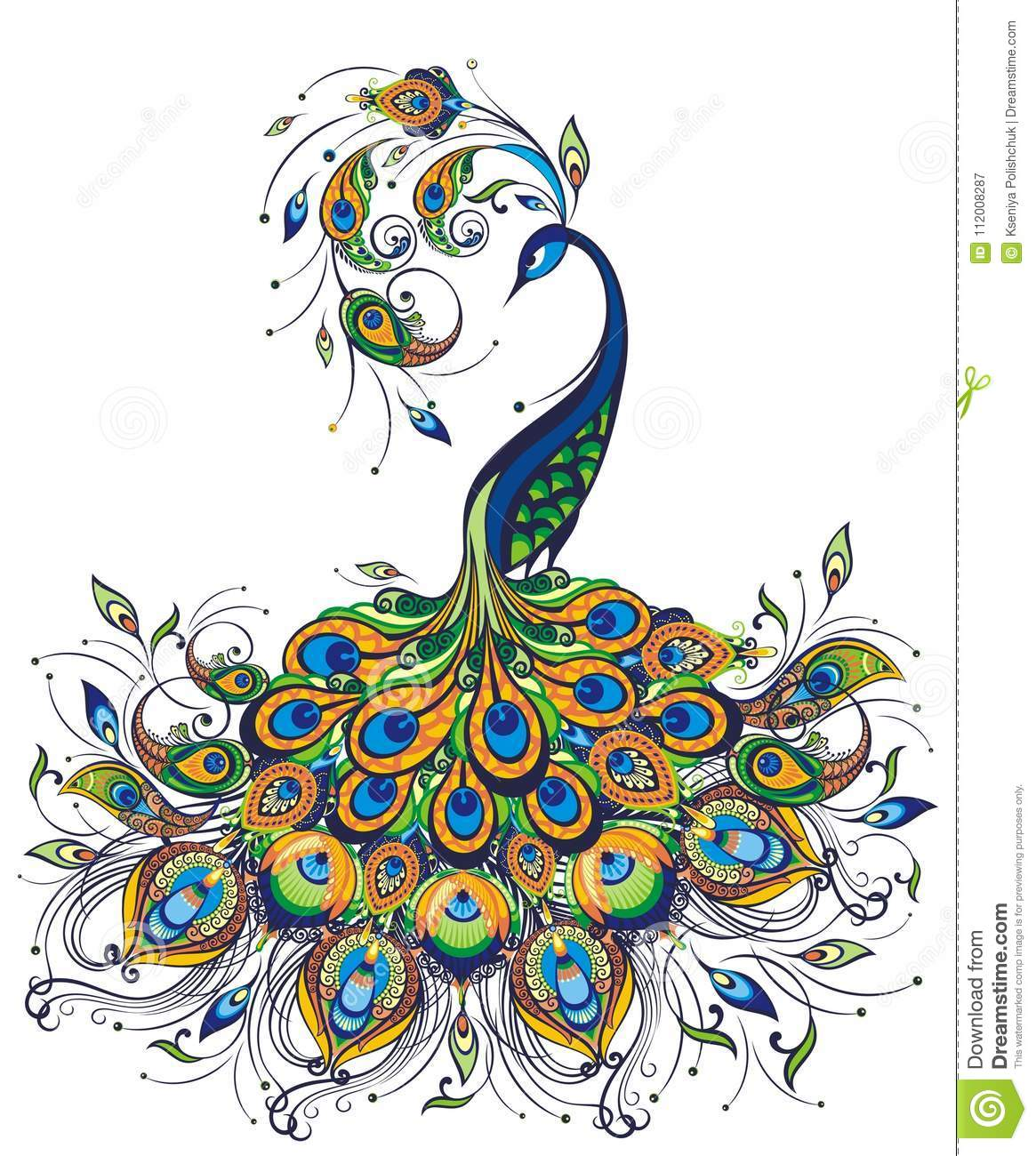 Fantasy Peacock Drawing On White Background Stock Vector