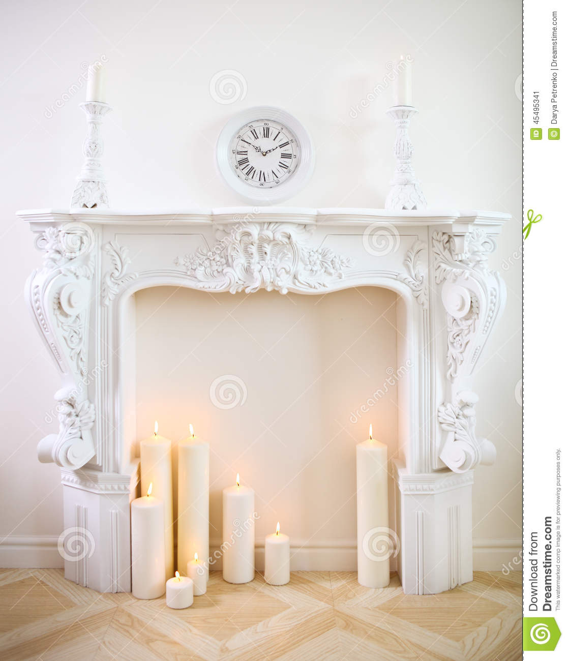 decorative fireplace with candles stock image image of golden light 45495341. Black Bedroom Furniture Sets. Home Design Ideas