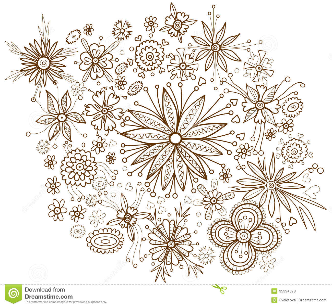 Flowers Coloring Book Jepsen Decorative Floral Background With Beautiful Flower Royalty