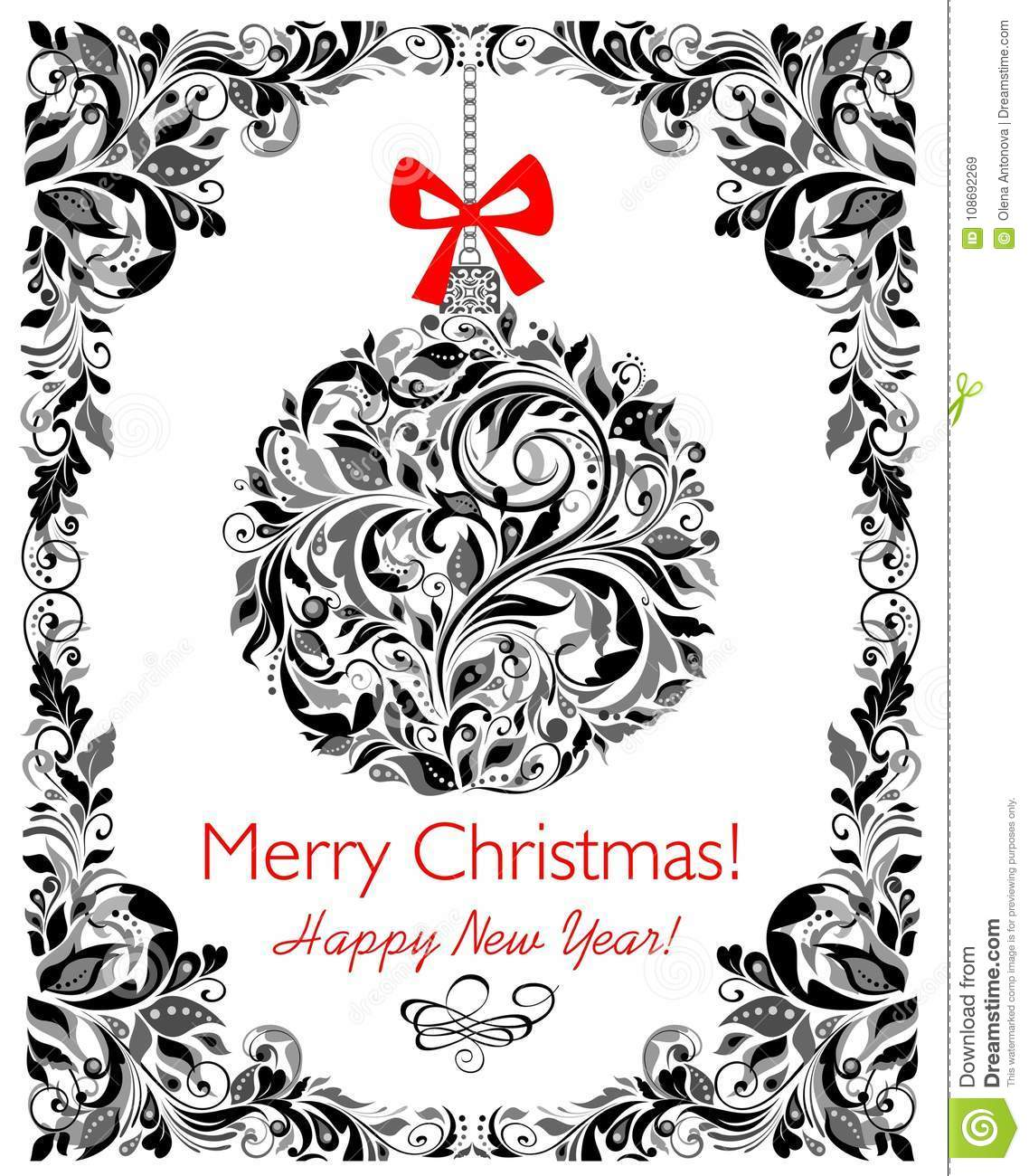 Decorative Floral Black And White Greeting Christmas Card With ...