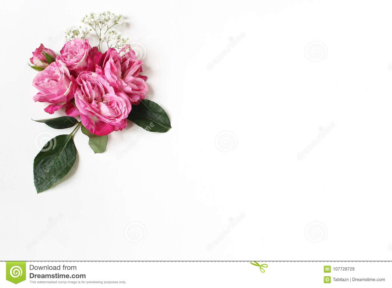 Decorative floral composition with pink roses, green leaves and and baby`s breath Gypsophila flowers on white table