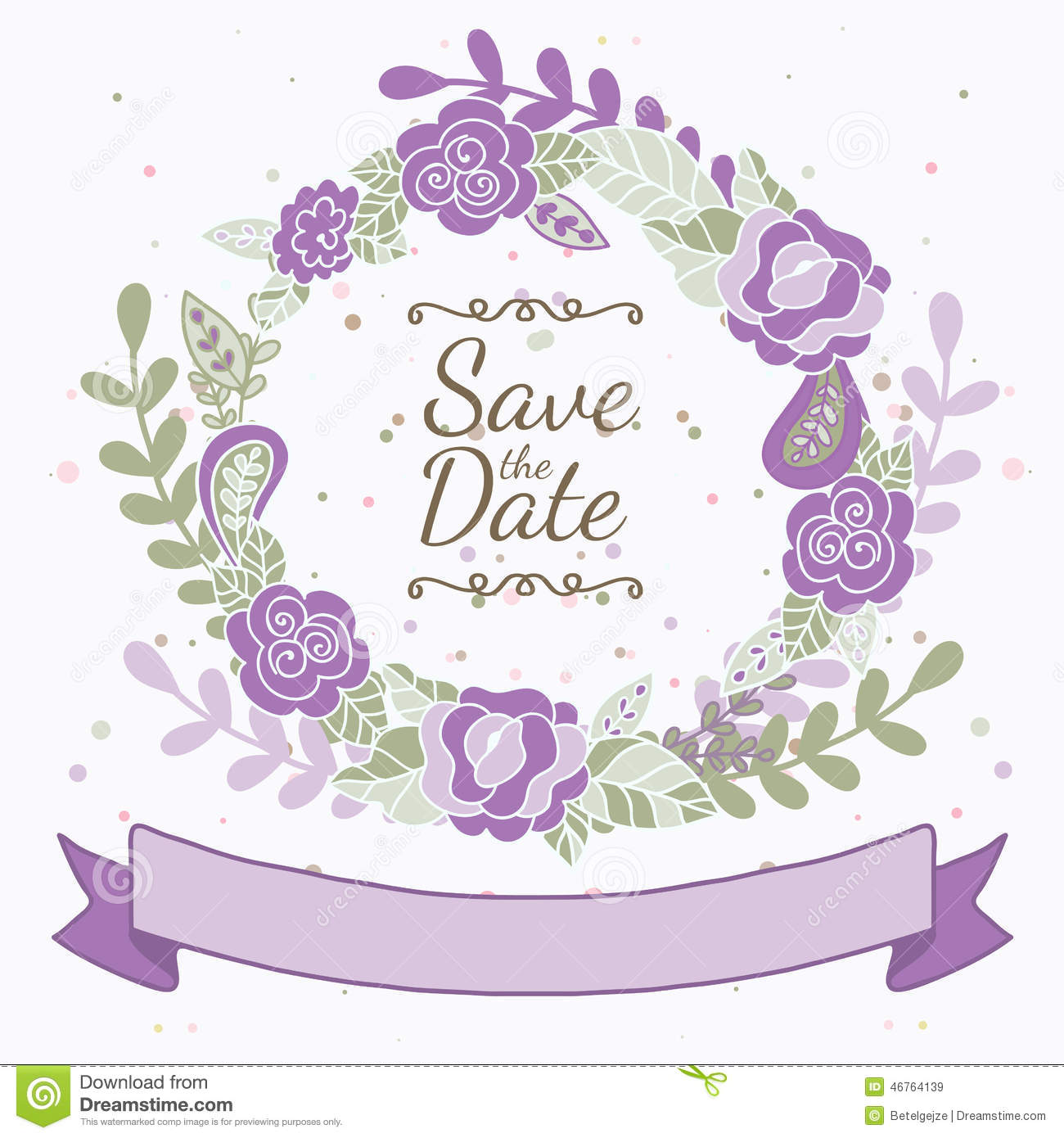 ... Purple Roses And Leaves. Wedding, B Stock Vector - Image: 46764139