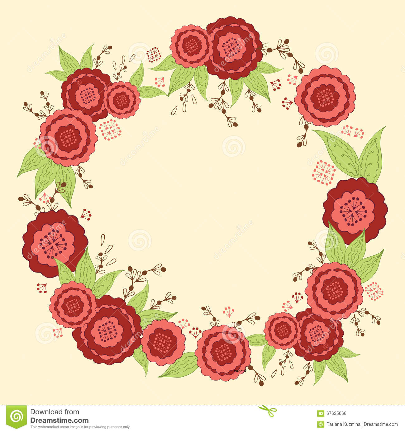 Decorative Floral Wreath For Design Of Invitations, Covers ...