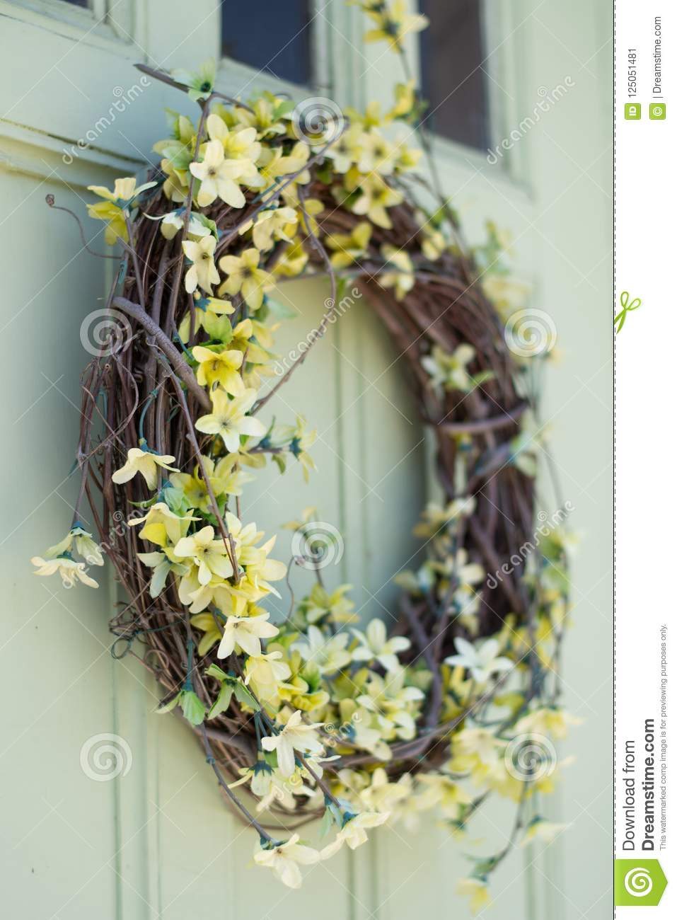 Decorative Wreath With Yellow Flowers Stock Image Image Of Floral Athol 125051481