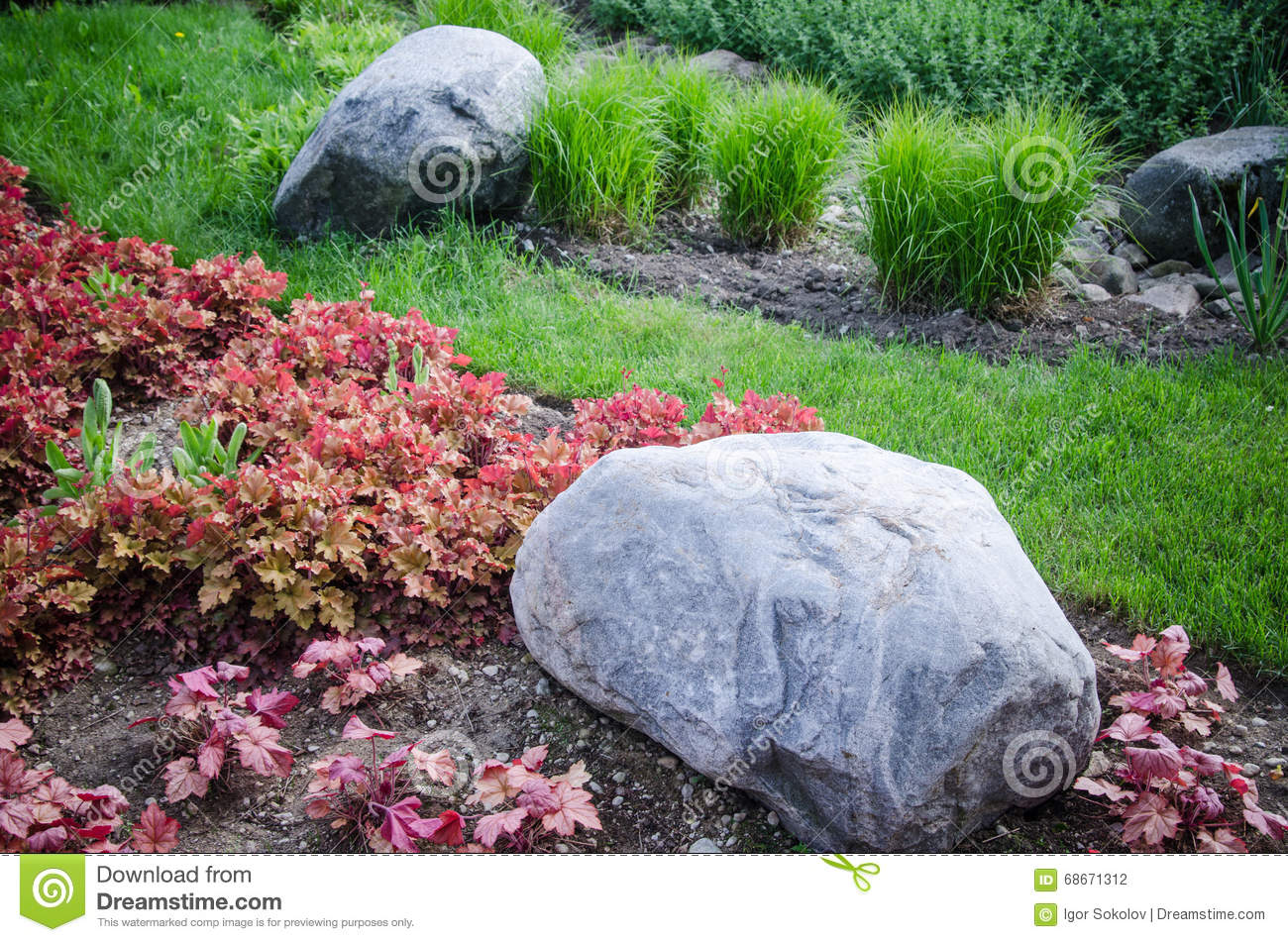 Decorative Stones For Flower Beds : Decorative flower bed in a garden with rocks and plants
