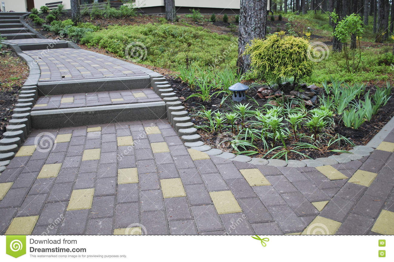 Decorative Stones For Flower Beds : Decorative flower bed and stairs of stone blocks stock