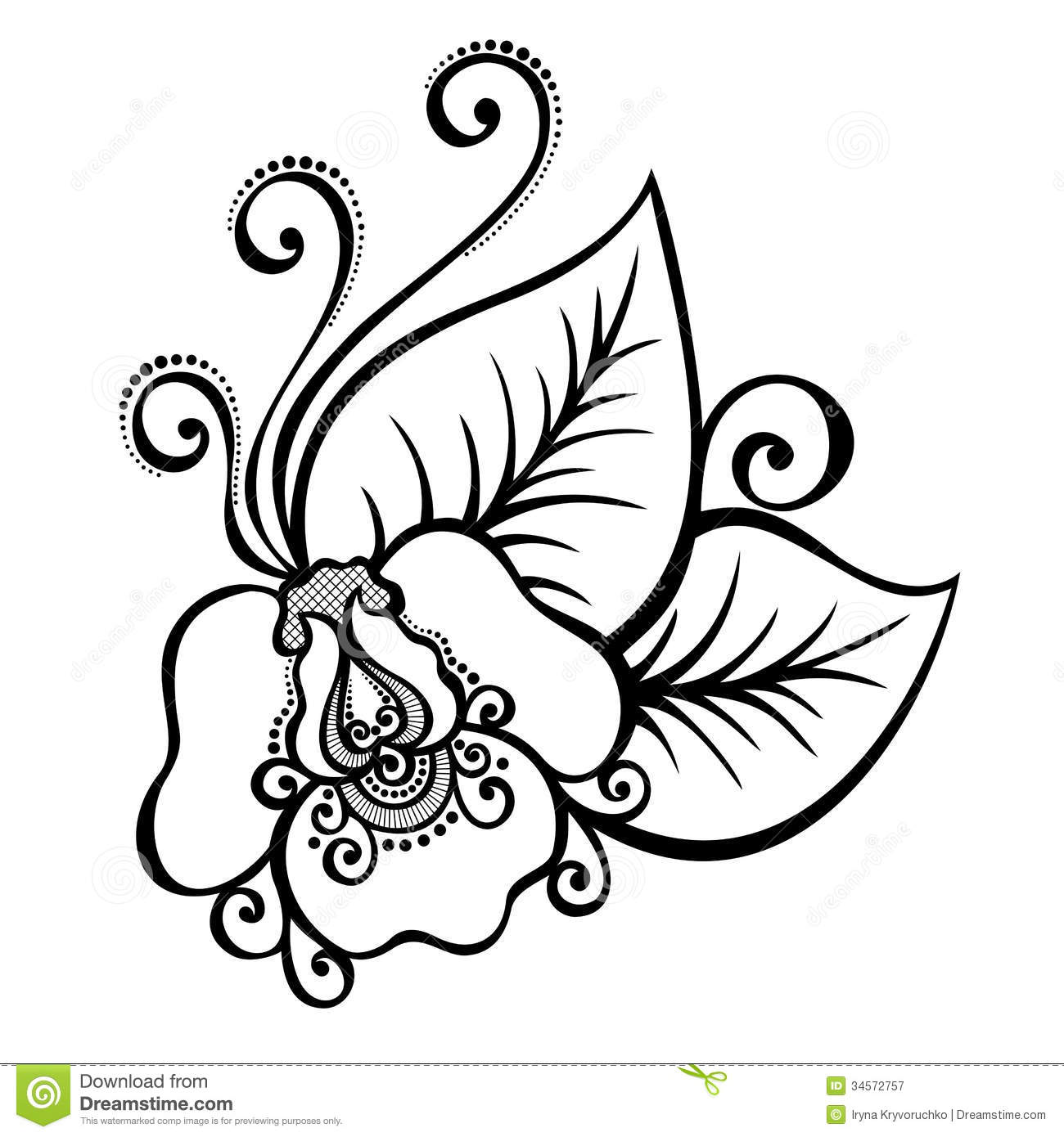 Decorative Flower With Leaves Royalty Free Stock