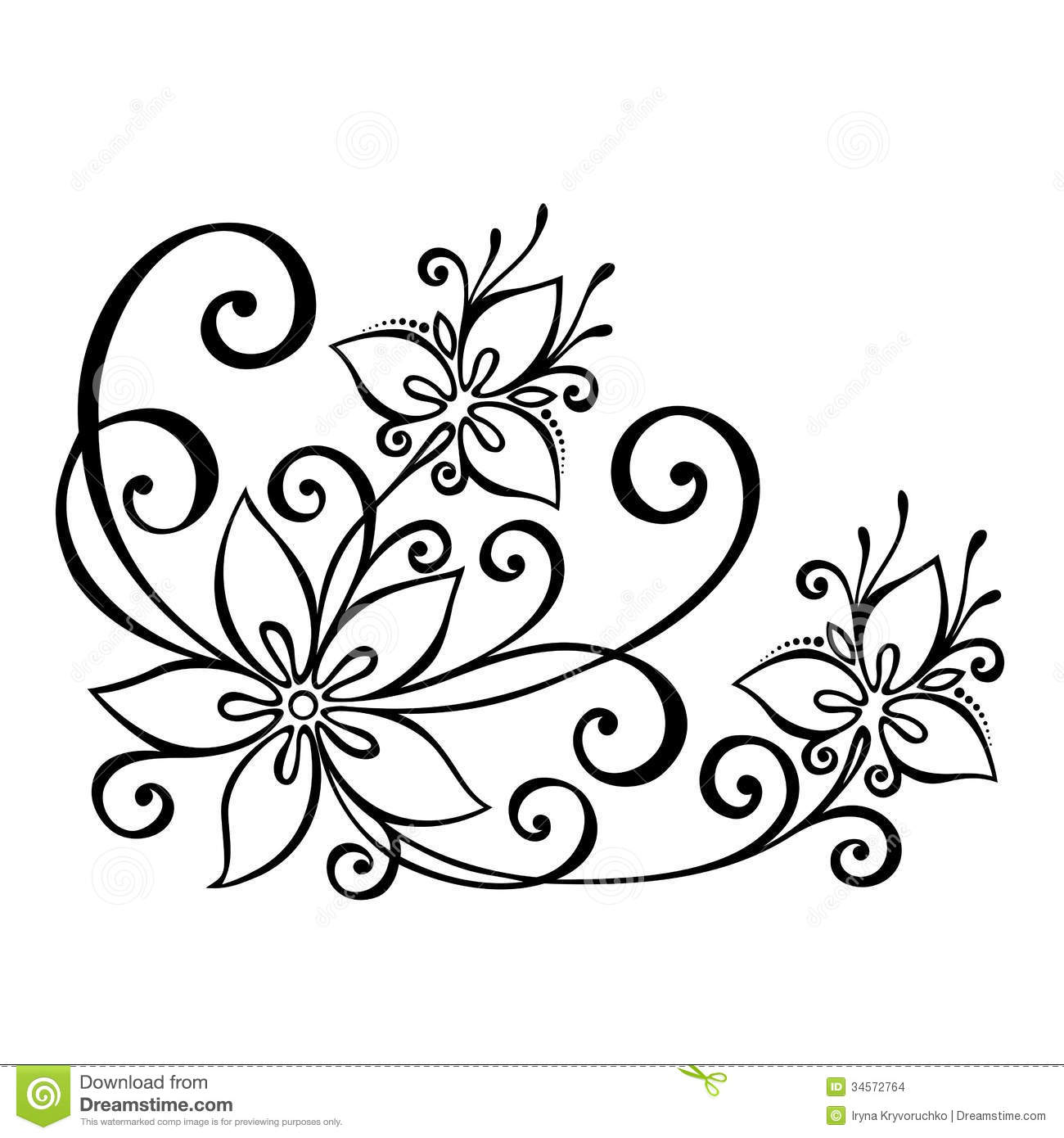 Decorative Flower With Leaves Stock Vector Image 34572764