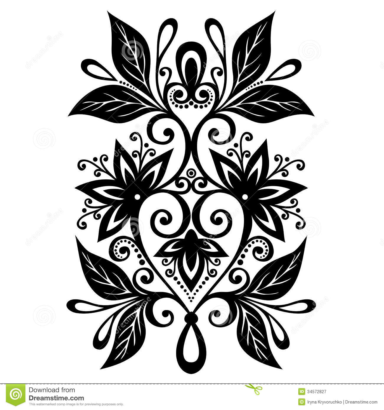Six Black Flower Design Stock Images: Decorative Flower With Leaves Royalty Free Stock