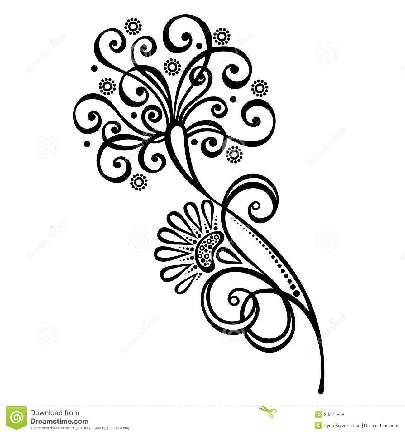 Decorative Flower With Leaves Stock Vector