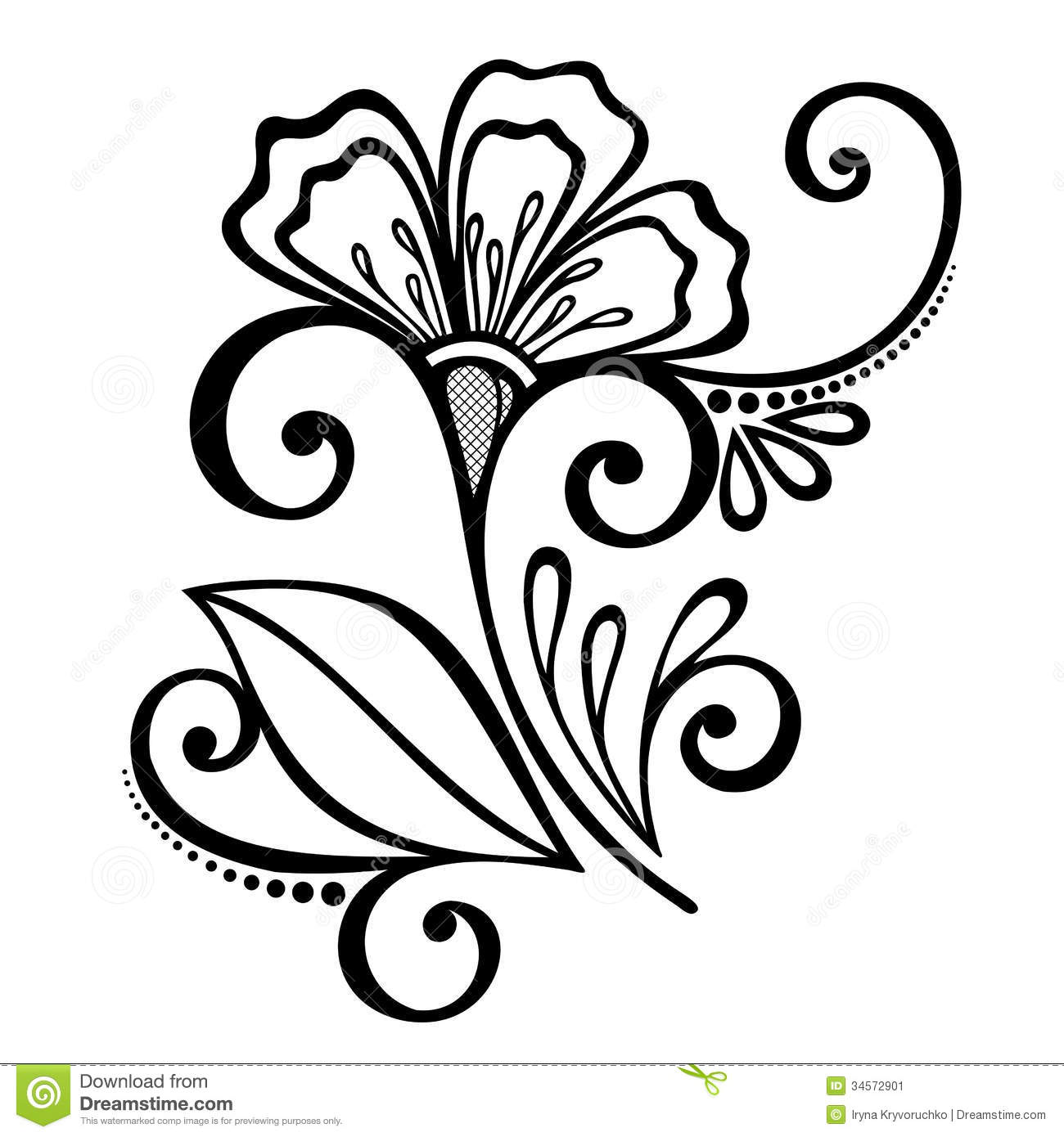 Decorative Flower With Leaves Stock Image Image 34572901