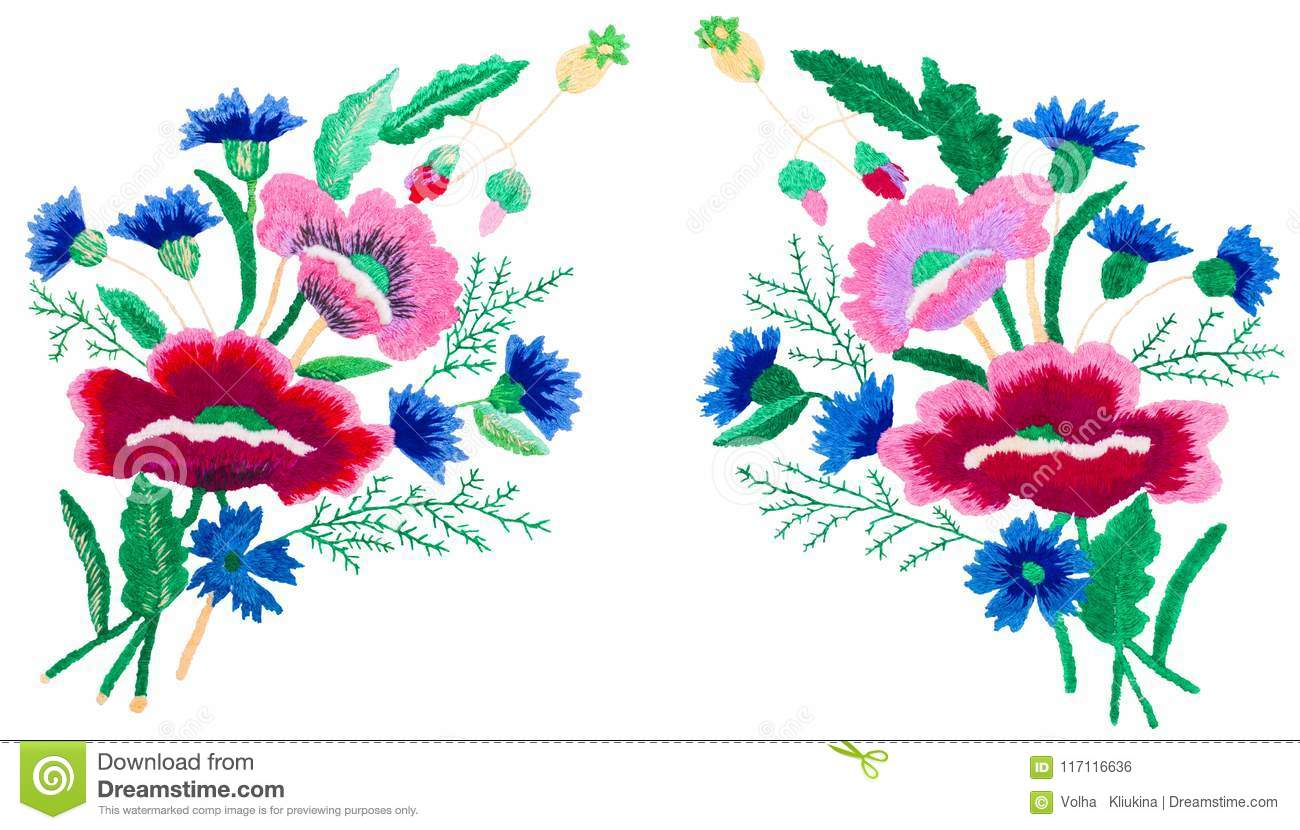 Decorative folk art, embroidery on the surface, bouquet on a white background