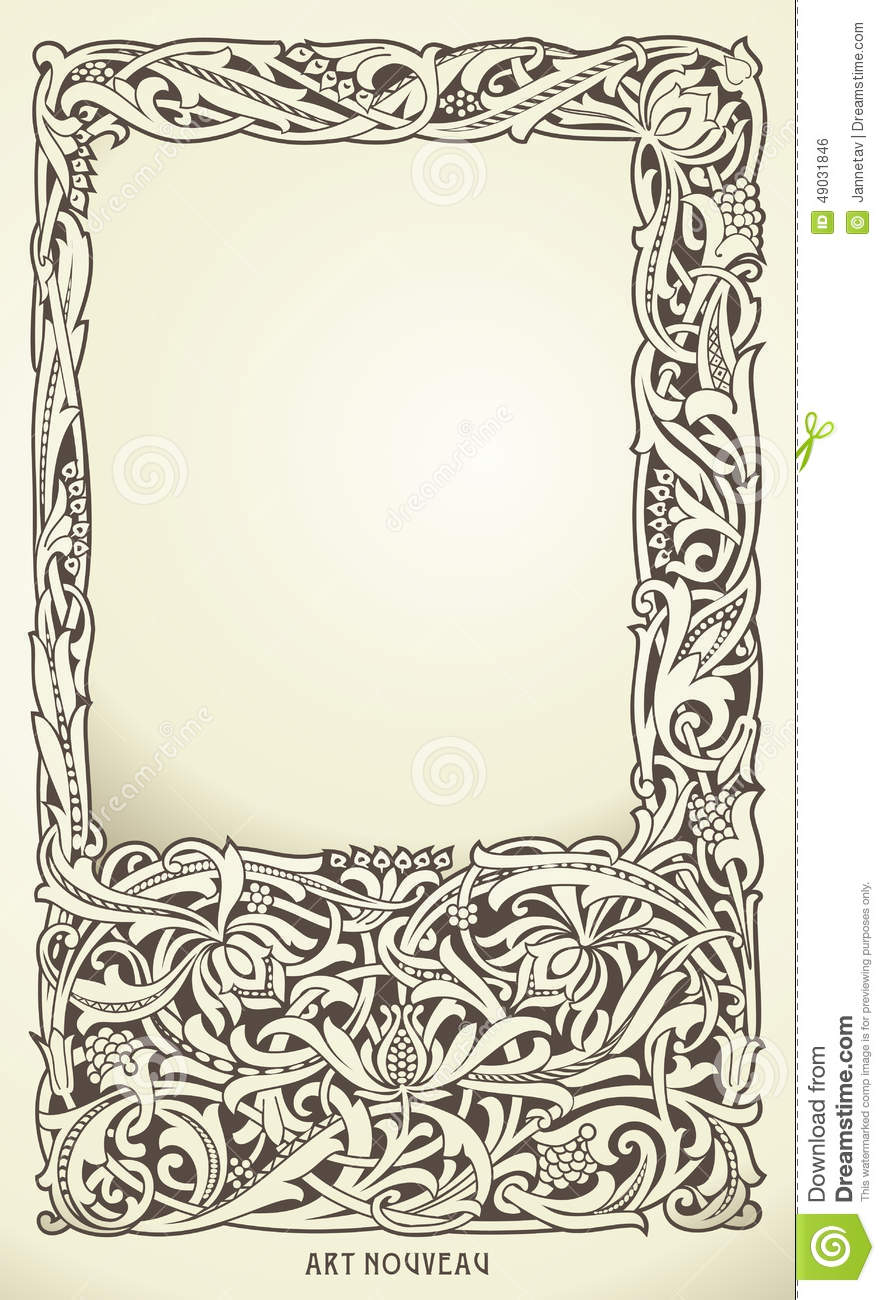 Decorative Frame In Art Nouveau Style Detailed Render