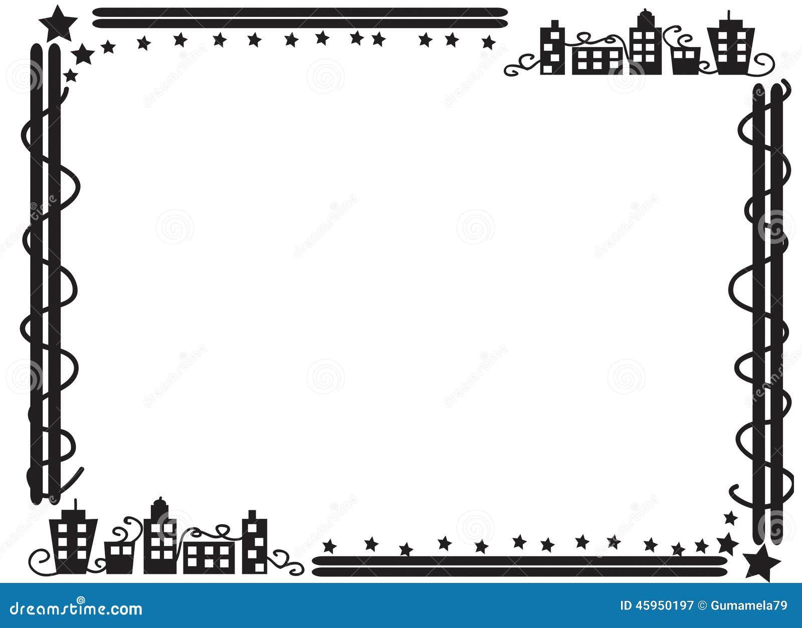 decorative frame border of buildings stock illustration