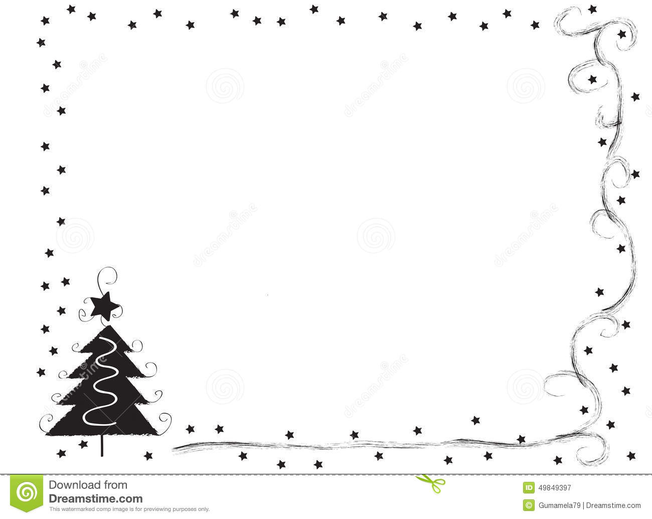 Decorative Frame Border With Christmas Tree And Stars Stock Illustration Image 49849397
