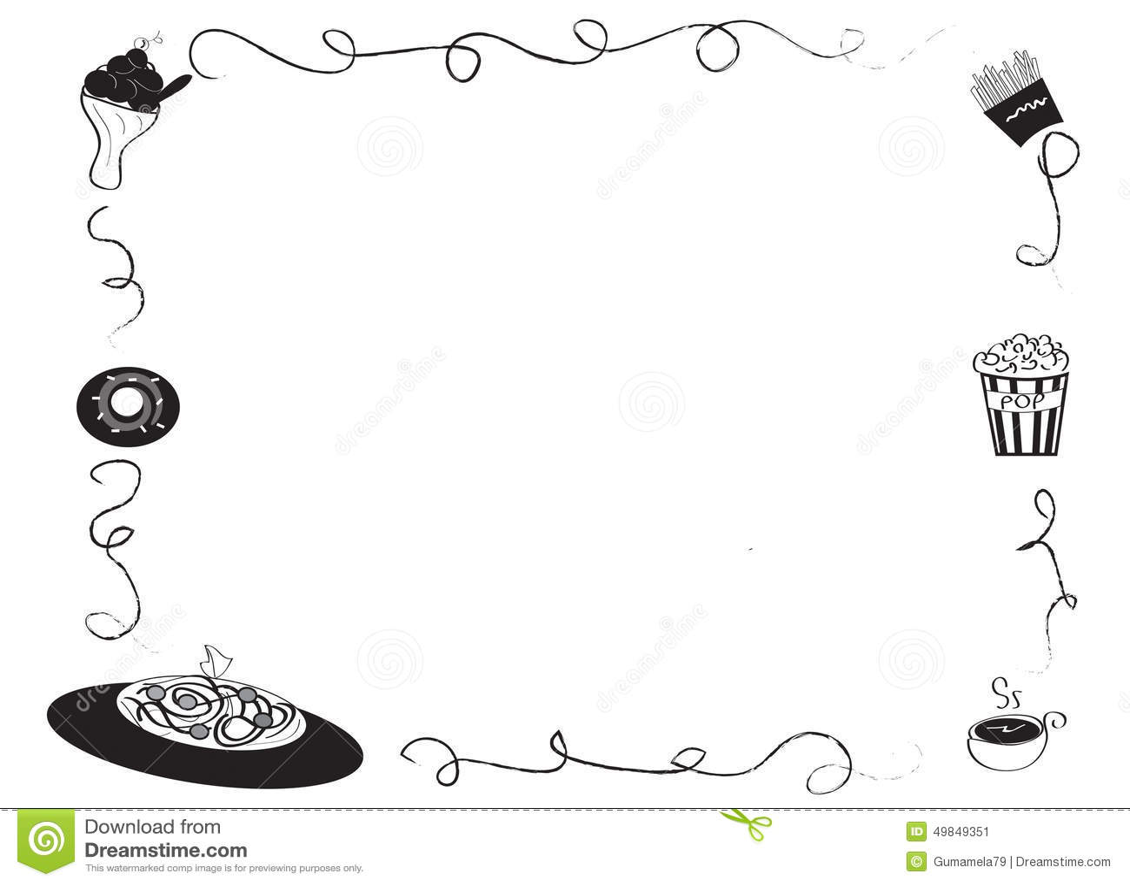 Decorative frames set download free vector art stock graphics - Decorative Frame Border With Food Stock Illustration