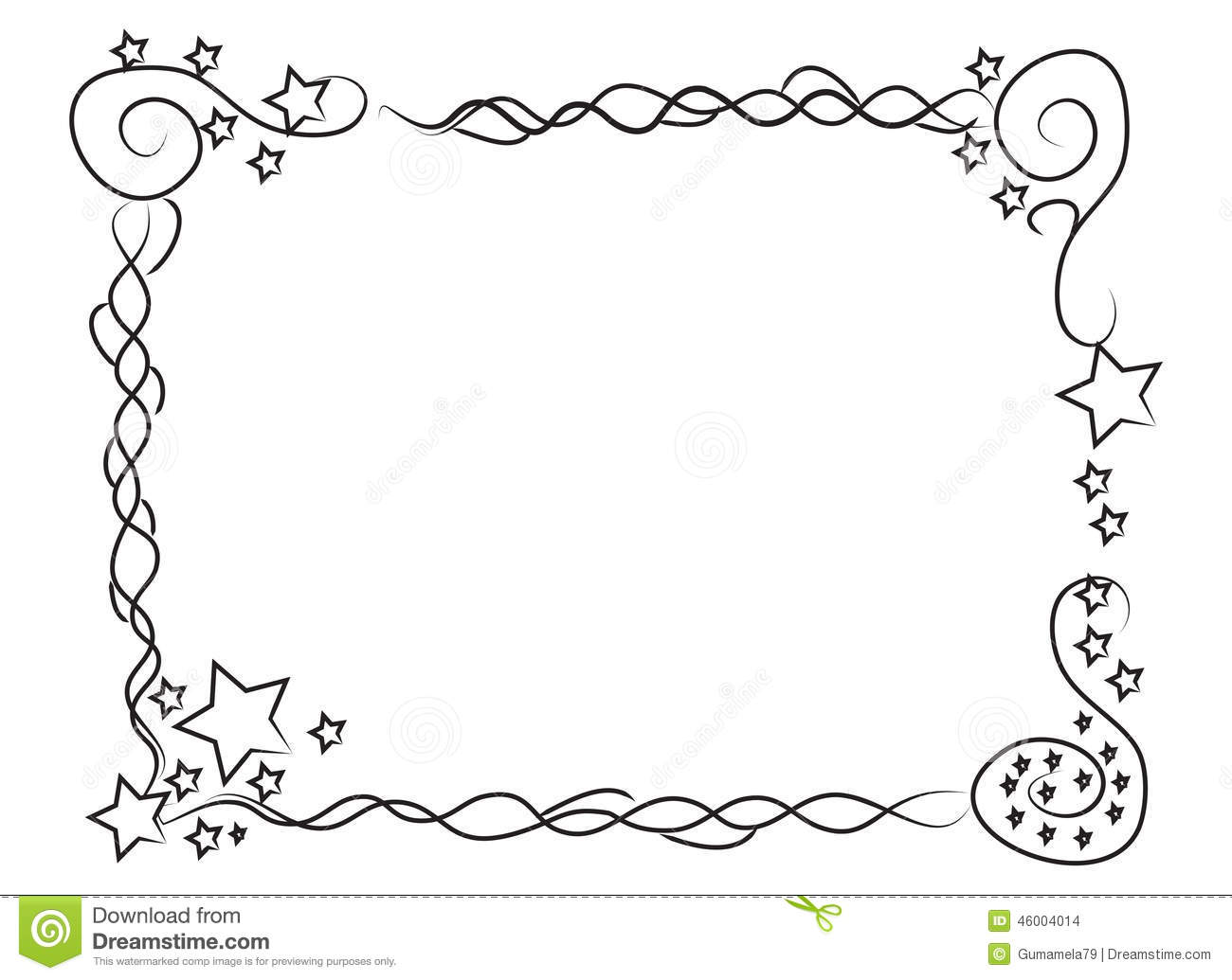 Decorative Frame Border With Stars And Spirals Stock