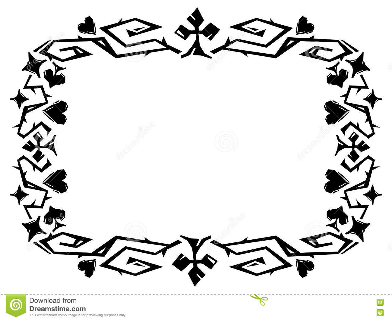 decorative frame with card suits. stock illustration - illustration