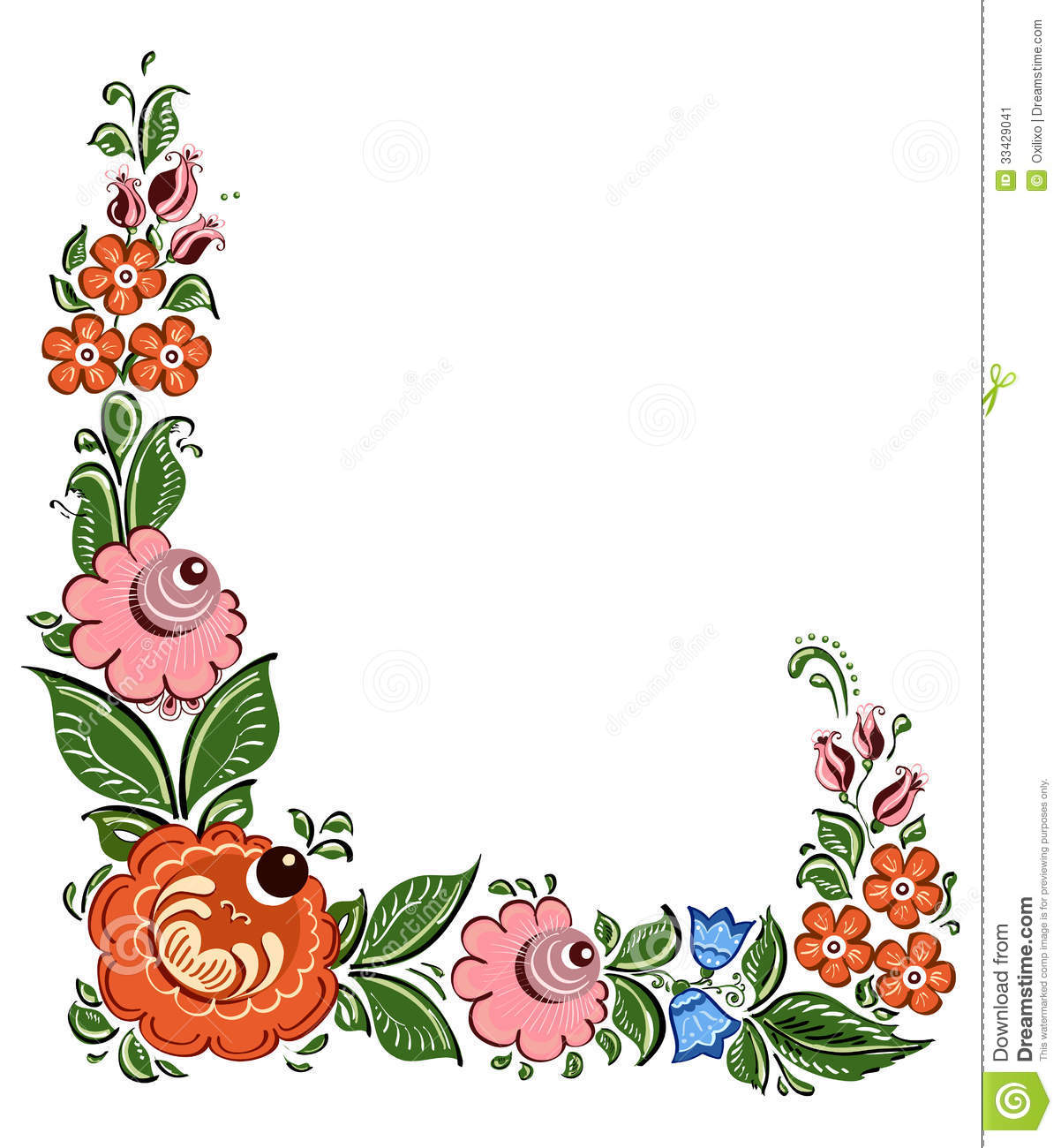 Decorative frame with flowers and in russian tradi stock for Cadre floral mural