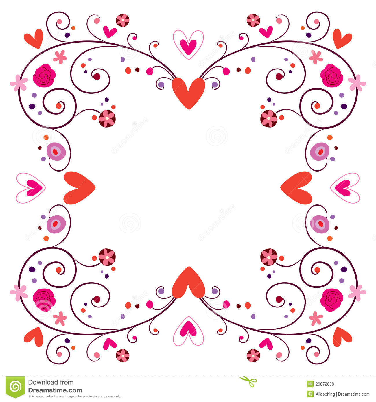 Decorative Frame With Hearts Amp Flowers Stock Photo Image