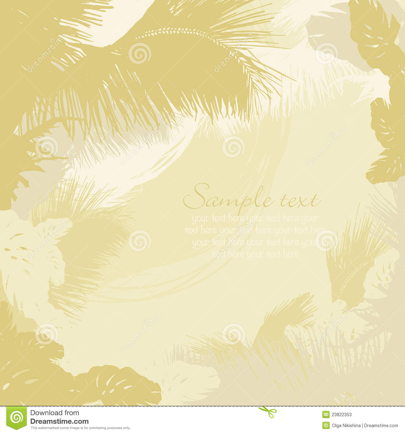Decorative frame of leaves of tropical trees