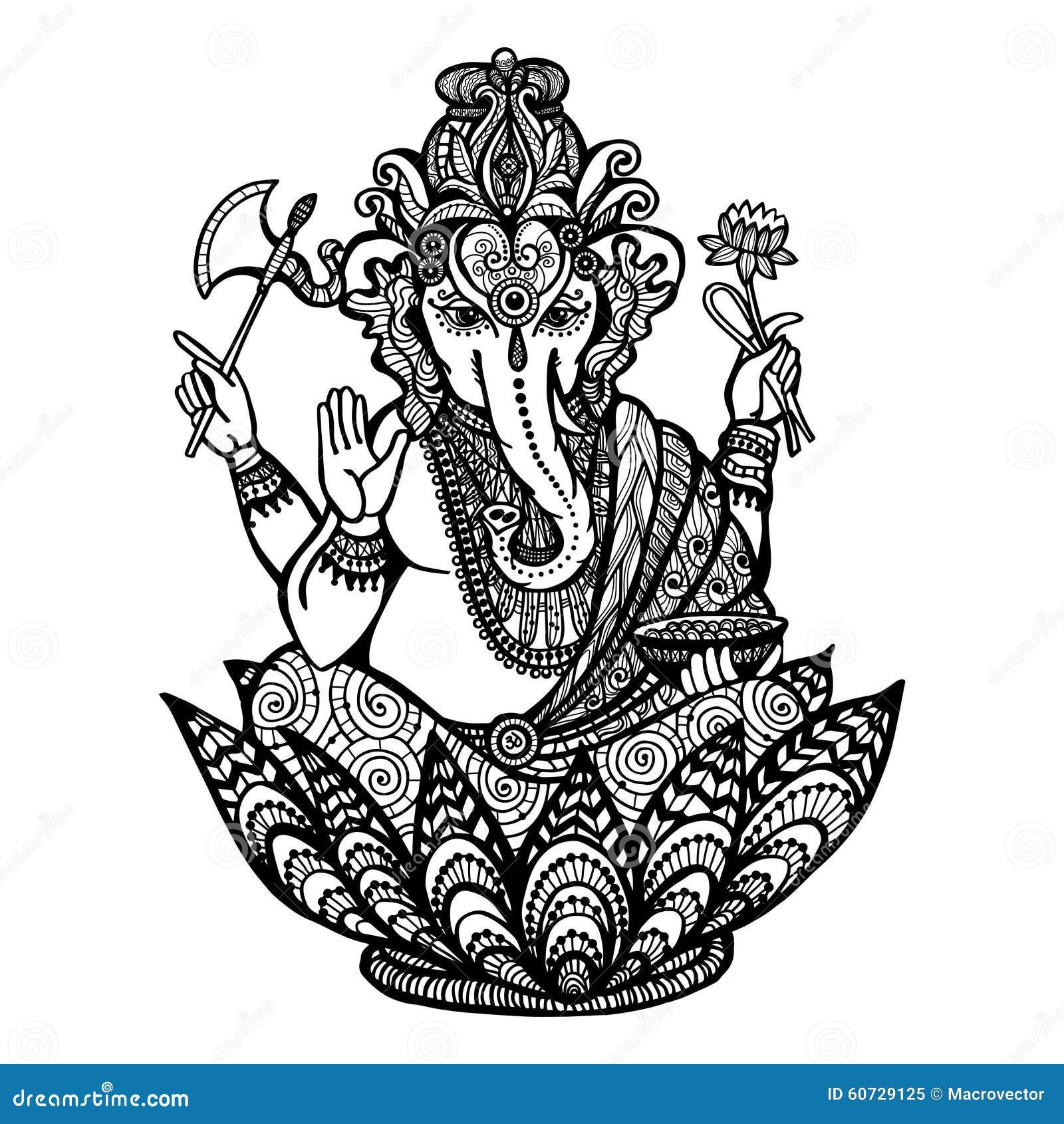 Decorative Ganesha Illustration Stock Vector - Image: 60729125