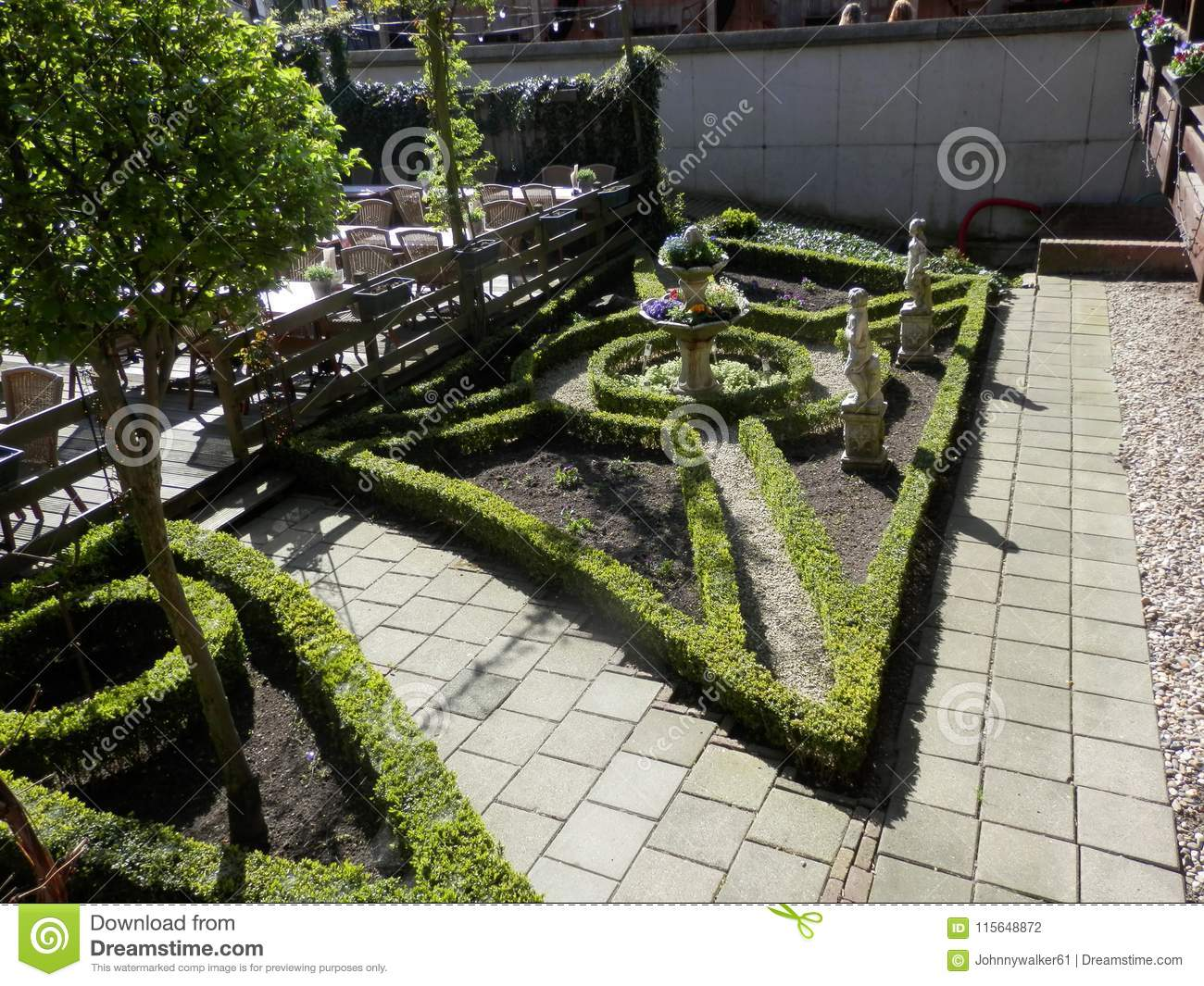 Decorative Garden With Box Hedges Stock Photo Image Of Topiary Cornus 115648872