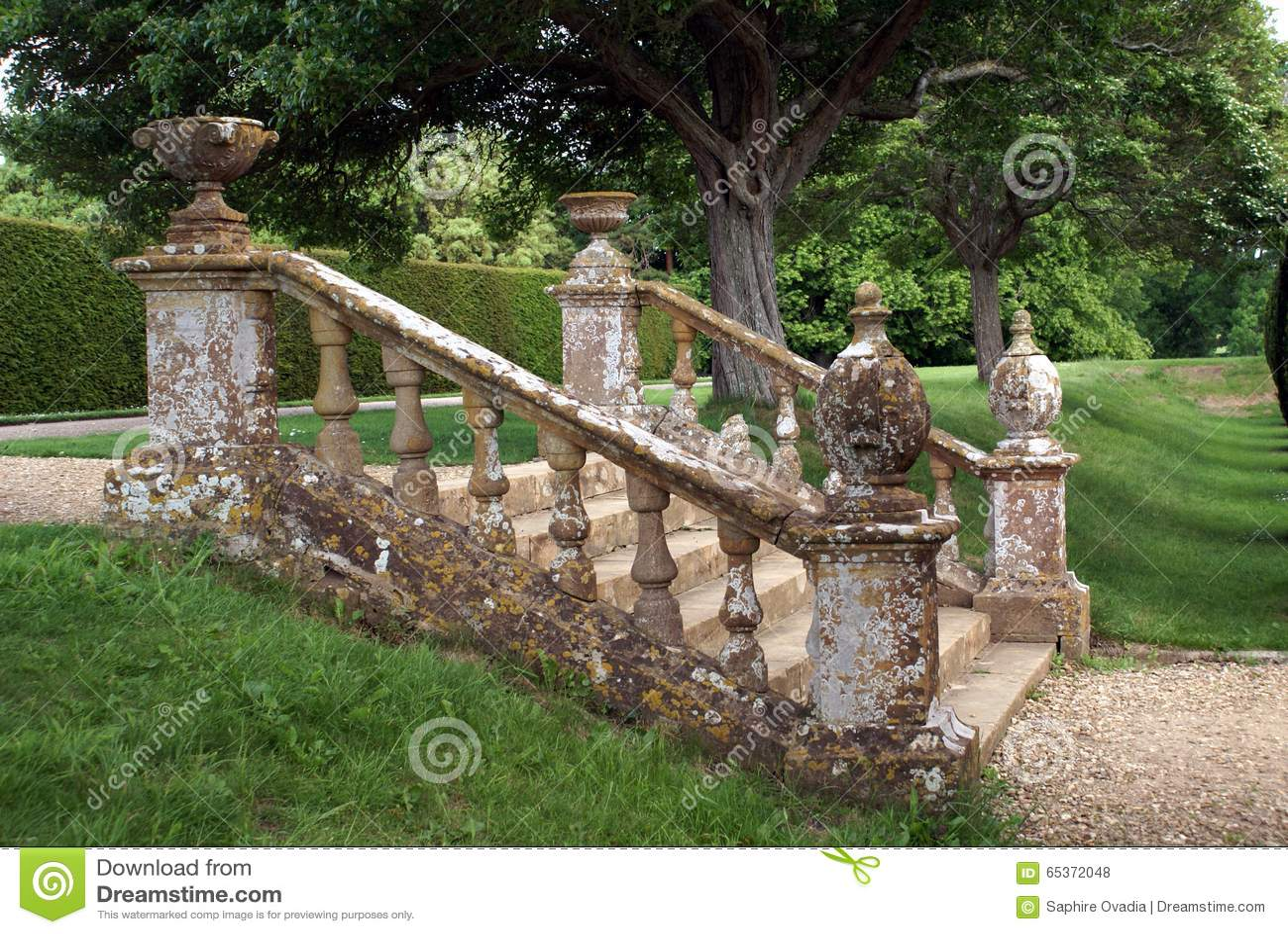 Decorative Garden Steps With A Balustrade, Urns, & Globes. Stock ...