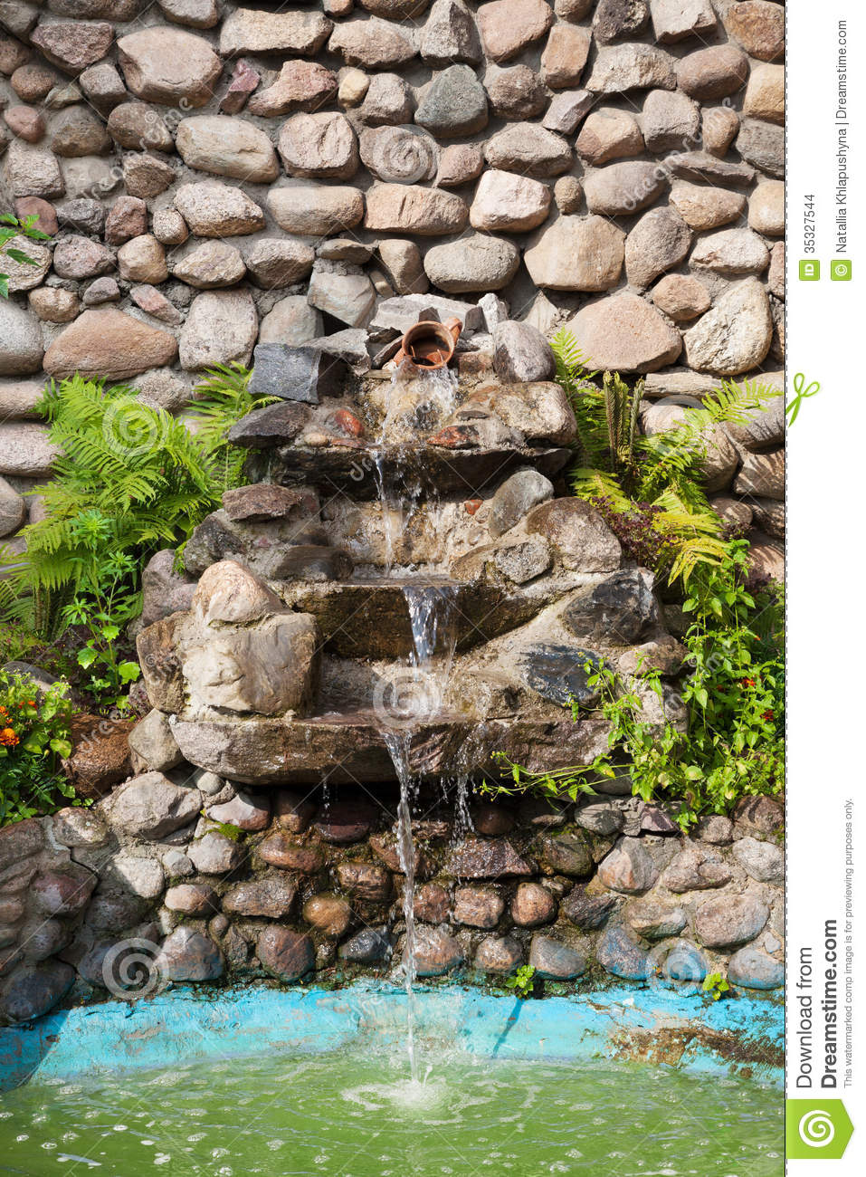 Decorative garden waterfall stock images image 35327544 for Ornamental pond waterfall