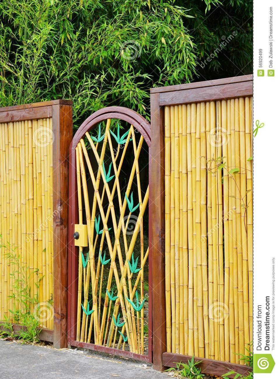 Decorative Gate In Bamboo Fence Stock Photo Image 56920499