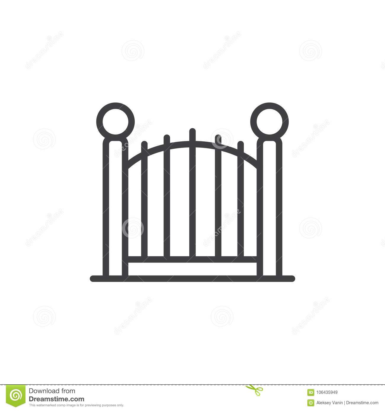 Decorative Gate Line Icon Stock Vector Illustration Of And Symbol Outline Sign Linear Style Pictogram Isolated On White Park Fence Logo Editable Stroke