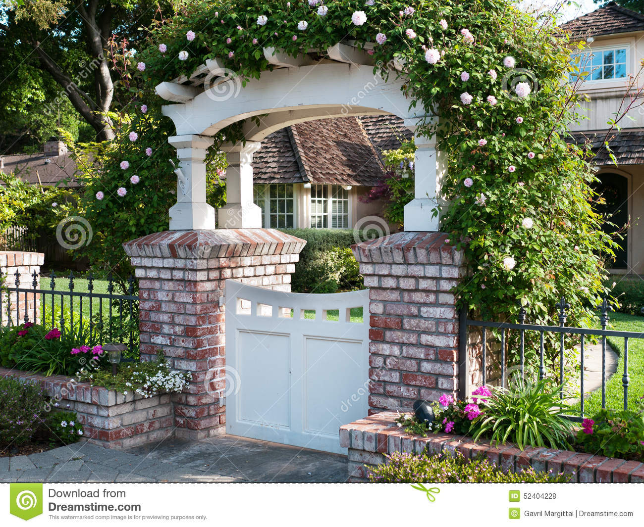 back yard garage ideas - Decorative Gate With Roses Flowers & Nature Background