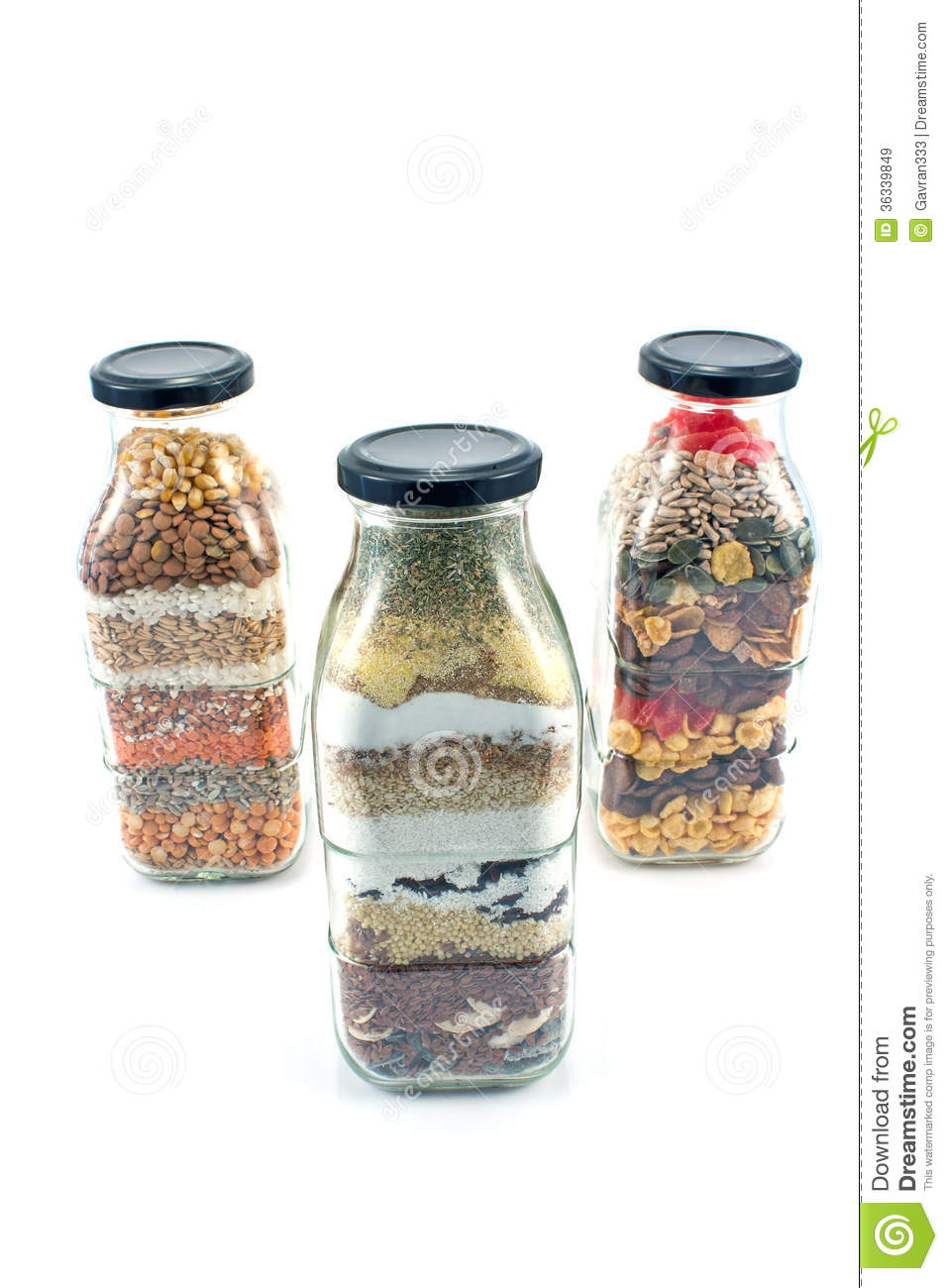 Decorative Glass Bottles With Seeds Stock Image Image Of