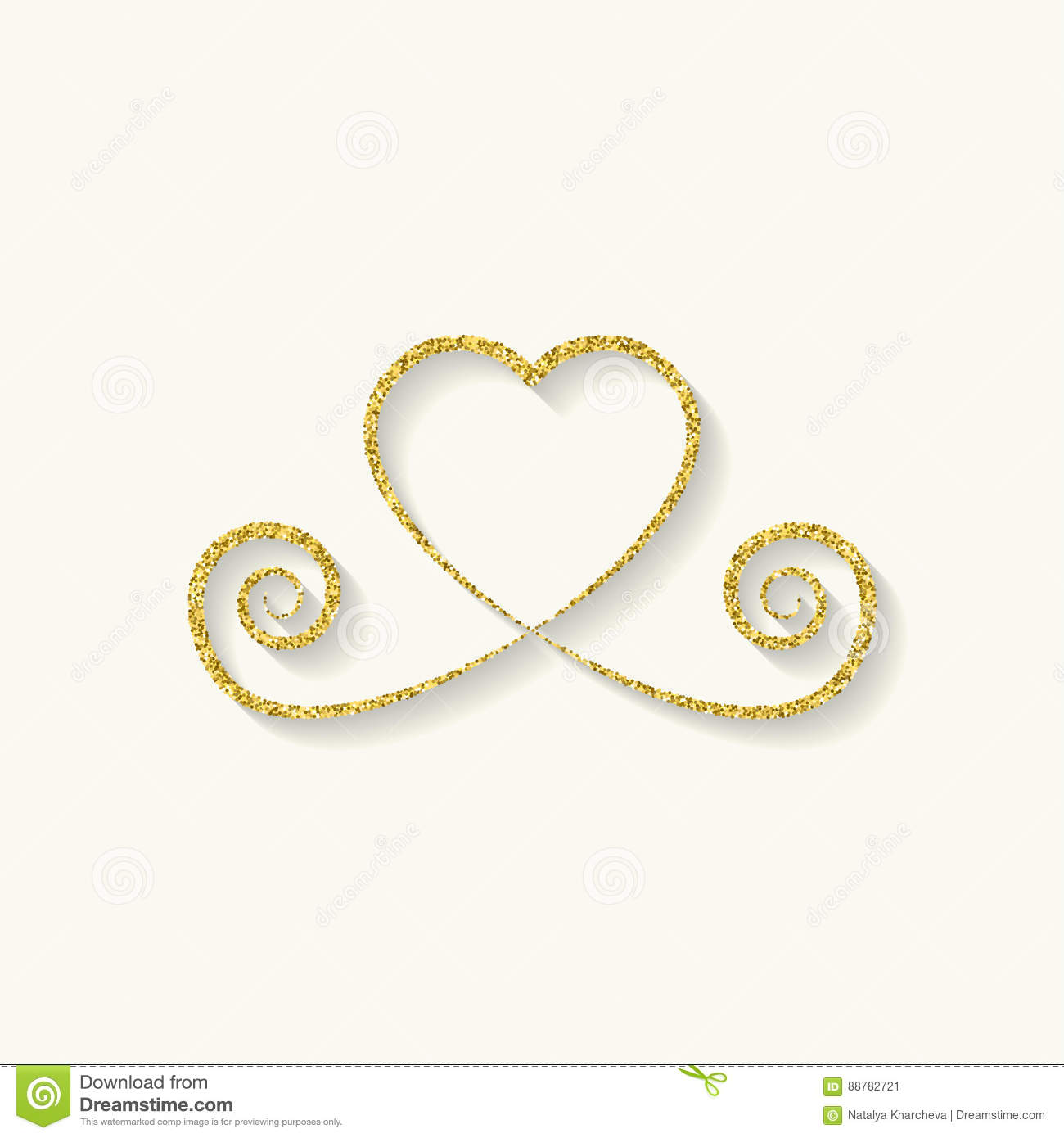 decorative gold heart icon. glitter logo, love symbol with a shadow on a white background. use in decoration, design. vector
